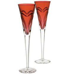Waterford Love and Romance Crimson Flutes