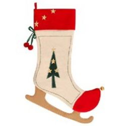 Monogrammed Ice Skate Christmas Stocking with Christmas Tree