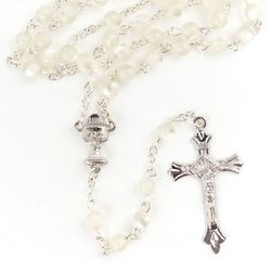 Pearl Cat's Eye Rosary with Chalice Box