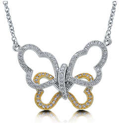Sterling Silver Cubic Zirconia Open Butterfly Necklace
