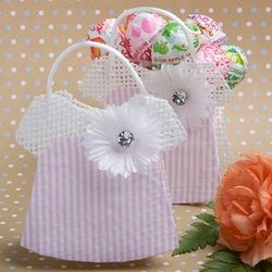 Pink and White Mesh Baby Jumper Favor Bag