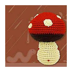 Handcrafted Knit Mushroom Rattle