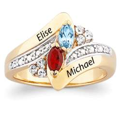Gold Over Sterling Couple's Crystal Marquise Birthstone Ring