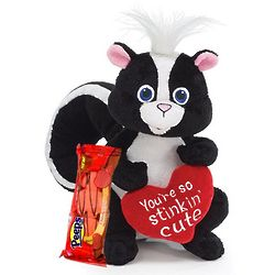 So Stinkin' Cute Plush Skunk with Valentine Cherry Peeps