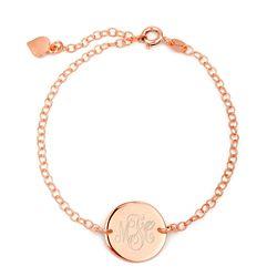 Personalized Monogram Rose Gold Disc Bracelet