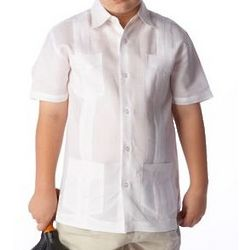 Linen Short Sleeve Guayabera Shirt for Boys