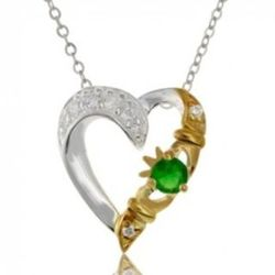 Claddagh Heart with Created Emerald Necklace