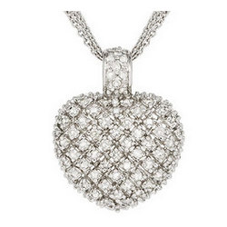 Sterling Silver Diamond Heart Pendant with Three Strand Chain