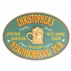 Handcrafted Neighborhood Pub Oval Sign