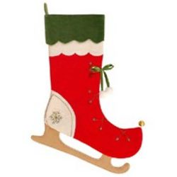 Monogrammed Ice Skate Christmas Stocking with Double Velvet Cuff