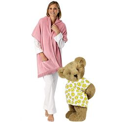 "15"" Get Well Teddy Bear and Pink Cuddle Wrap Gift Set"