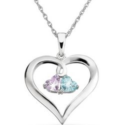 Sterling Silver Couple's Birthstone Necklace