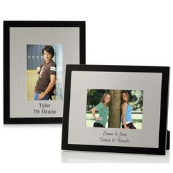 Personalized Black Wood and Brushed Metal Picture Frame