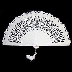 Handpainted White Folding Hand Fan