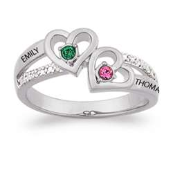 Couple's Birthstone Hearts Name Ring with Diamond Accents