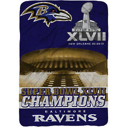 Baltimore Ravens Super Bowl XLVII Champions Raschel Throw Blanket