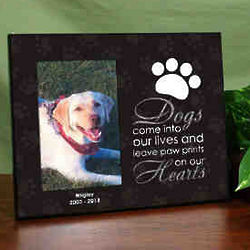 Paw Prints on Our Hearts Personalized Pet Memorial Printed Frame