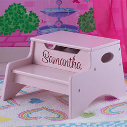 Petal Pink Personalized Step and Store Stool
