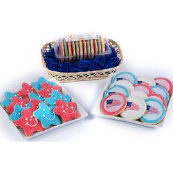Patriotic Cookies Wicker Gift Basket