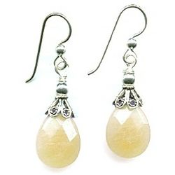 Sterling Silver and Yellow Opal Briolette Earrings