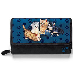 Kitty Kat Cute Cat Art Women's Black Faux Leather Tri-Fold Wallet