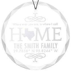 "Custom Coordinate 3"" Glass Christmas Ornament"