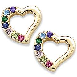 Mother's Birthstone Heart Pierced Earrings