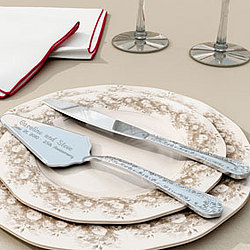 Personalized Silver Plated Cake Knife and Server Set