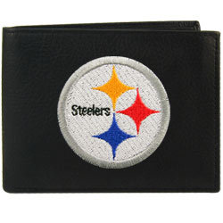 Pittsburgh Steelers Black Embroidered Bi-fold Leather Wallet