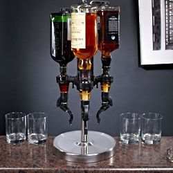 Three Bottle Revolving Liquor Dispenser