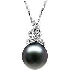Black Tahitian Drop Pearl & Diamond Pendant in 14k White Gold