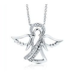 Sterling Silver Cubic Zirconia Guardian Angel Necklace