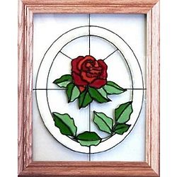 Red Rose Stained Glass Window