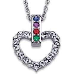 Platinum Plated Mother's Crystal Heart Birthstone Necklace