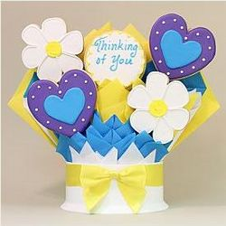 5 Piece Hearts and Flowers Thinking Of You Cookie Bouquet