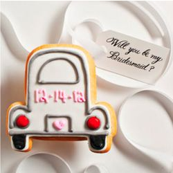 Personalized Wedding Party Car Cookie Card