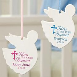 Personalized Baptism Crib Angel Ornament