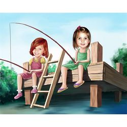 Girls Fishin' on the Pier Personalized Caricature Art Print
