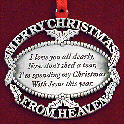 Personalized Merry Christmas from Heaven Ornament ...
