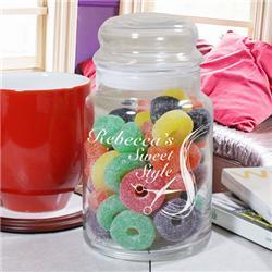 Engraved Hair Stylist Glass Treat Goodies Jar