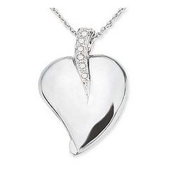 14k White Gold Diamond Heart Pendant with Chain