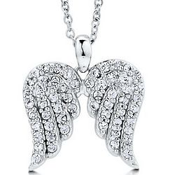 Sterling Silver Cubic Zirconia Angel Wings Necklace