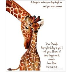 Personalized Mother's Love Giraffe Wall Art