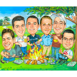 Group Caricature Digital Print