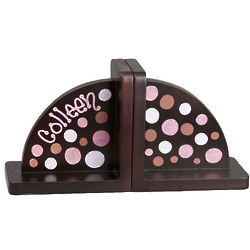 Personalized Espresso Polka Dots Bookends
