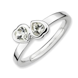 Sterling Silver Polished Double Heart White Topaz Ring