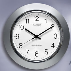 Silver Atomic Analog Clock with Chrome Rim