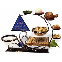 Metal and Glass Seder Plate Combo