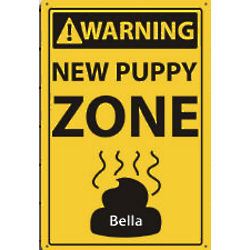 Personalized New Puppy Zone Metal Wall Sign