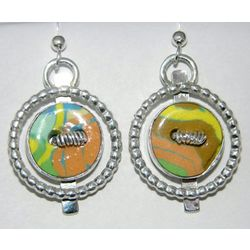 Framed Ceramic Button Earrings